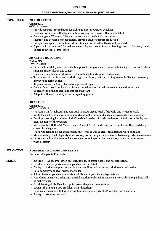 3d artist resume template
