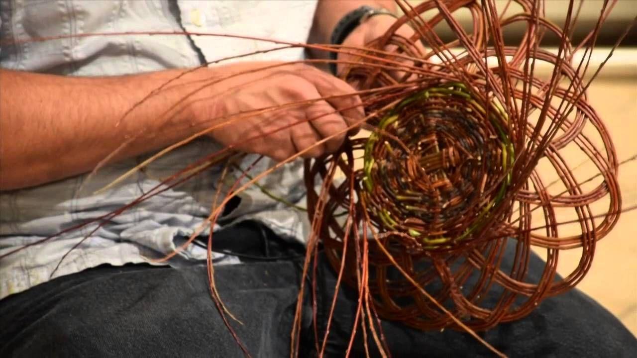 Carlos Herrera demonstrates Pueblo basketmaking