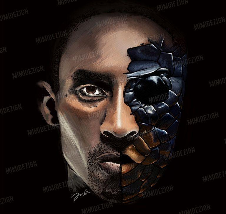 LA Lakers Art / Kobe Bryant Art / Half Kobe half Mamba ...