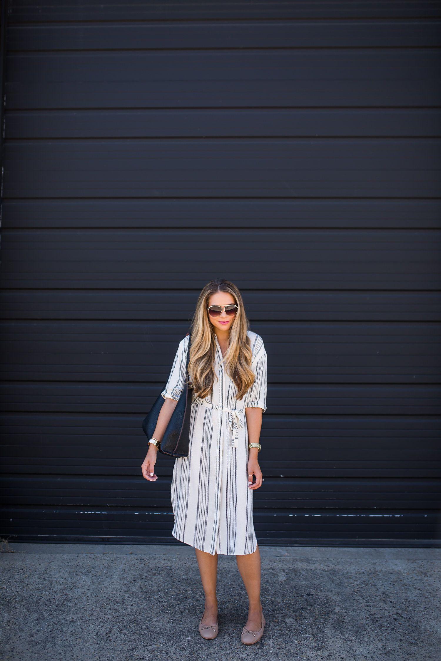 a6d95170334 Striped Shirt Dress   Classic Flats