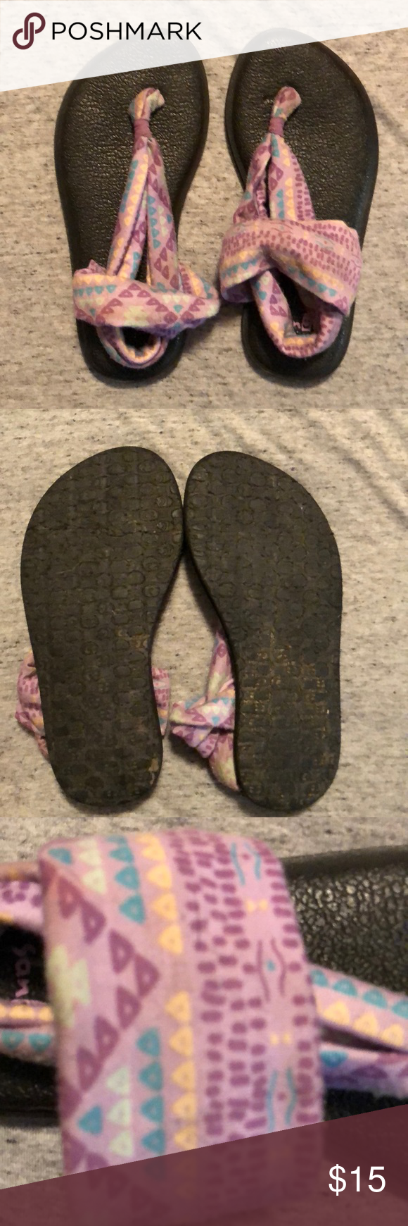 ecf1d00552b8 Girls size 12 Sanuk sandals These are used girls size 12 Sanuk yoga mat  sandals. Light purple material with geometric shapes. In good used  condition.