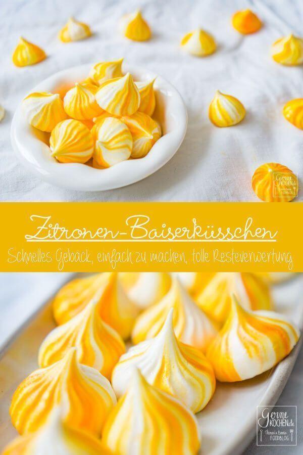 Zitronen-Baiserkuesschen oder Lemon Meringue sind eine tolle Resteverwertung für übriggebliebenes Eiweiß. Perfekt also für vor oder nach Ostern und generell. Auch toll als kleines Geschenk oder Beilage zum Kaffee.Zitronen-Baiserkuesschen oder Lemon Meringue sind...
