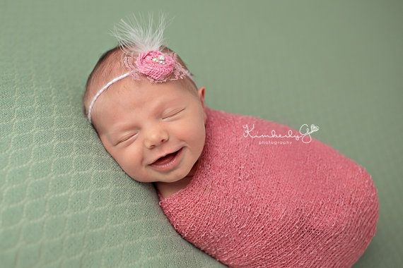 Pink newborn baby stretch wrap photography prop
