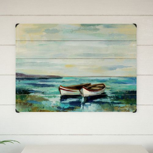 Boats At The Beach Graphic Art Print On Wood In 2021 Wood Wall Art Coastal Wall Art Wooden Wall Art