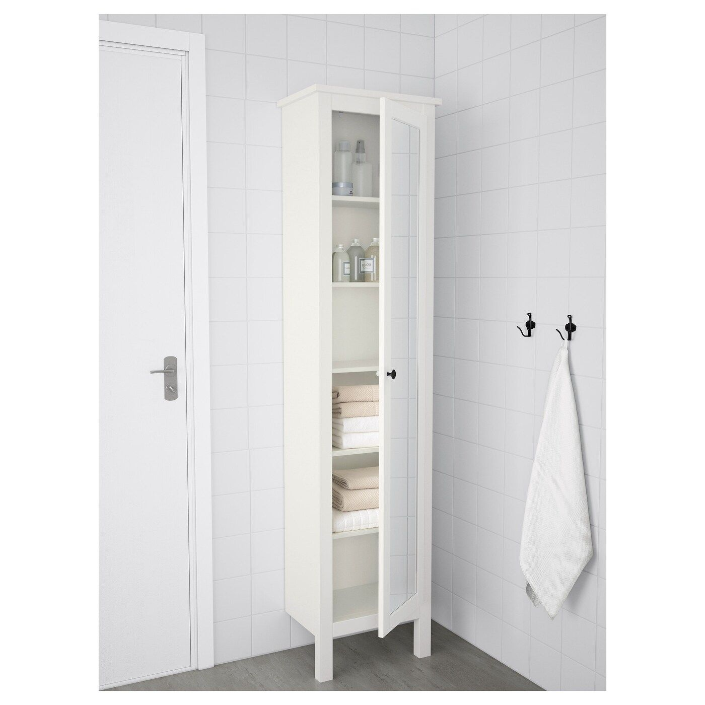 HEMNES High with mirror door, white, 19 1/4x12 1