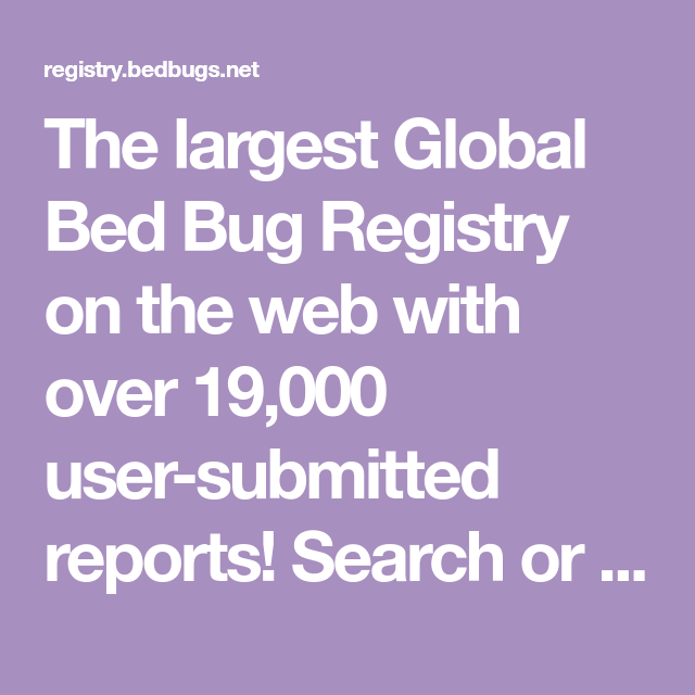 The Largest Global Bed Bug Registry On The Web With Over 19 000 User