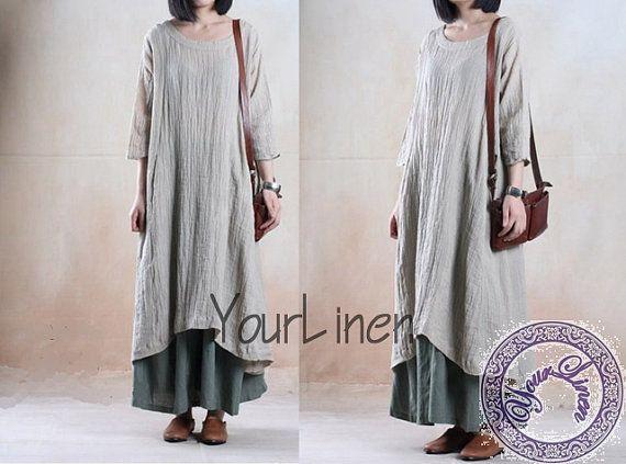 Plus size clothing  linen dress long dress floral maxi long dress women maxi dress  3/4sleeve dress  Beige linen dress plus size dress-E53
