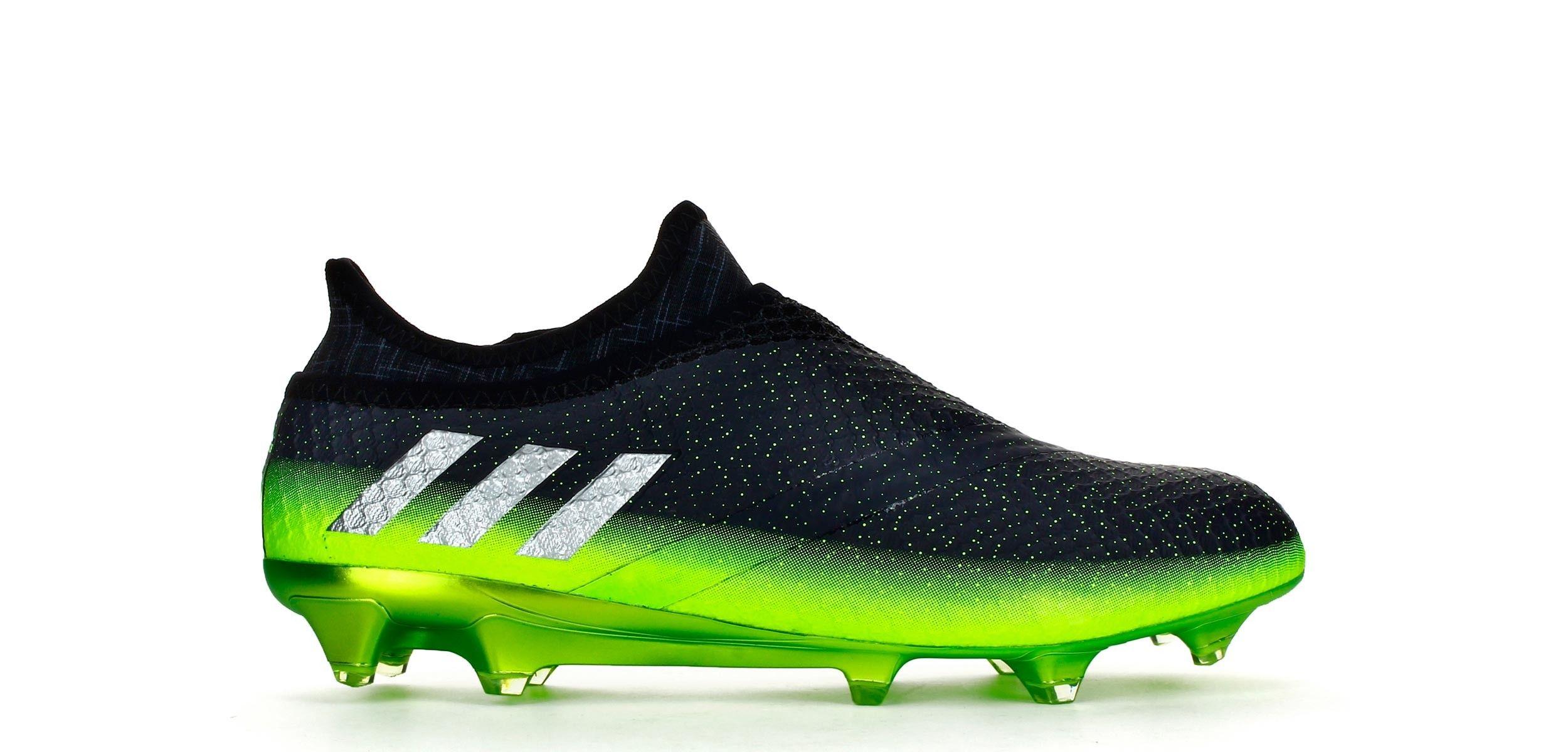 on sale 62109 3a27a Botas de fútbol adidas Messi 16+ Pureagility FG - Gris Oscuro   Verde Solar  - Exterior pie derecho