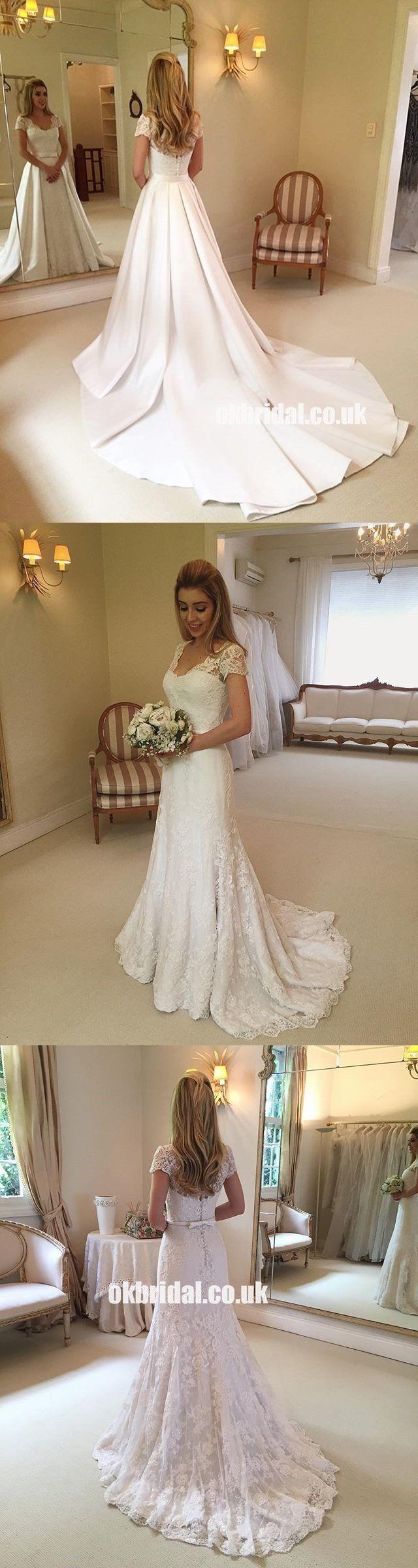 Short Sleeve Elegant Lace ALine Wedding Dresses with