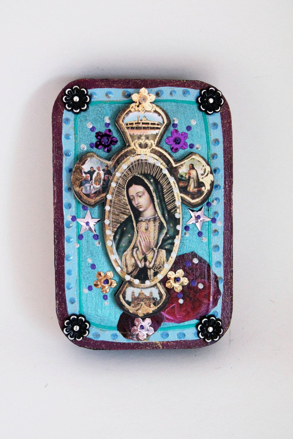 Our lady of guadalupe box frame mexican style with 3d for Our lady of guadalupe arts and crafts