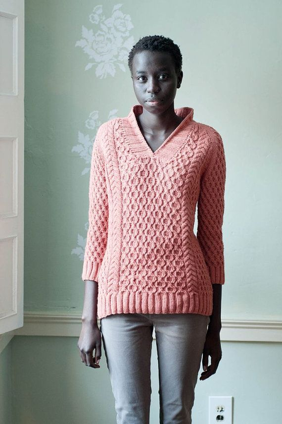 Hand Knit Womens V Neck Sweater Made To Order By Bandoftailors