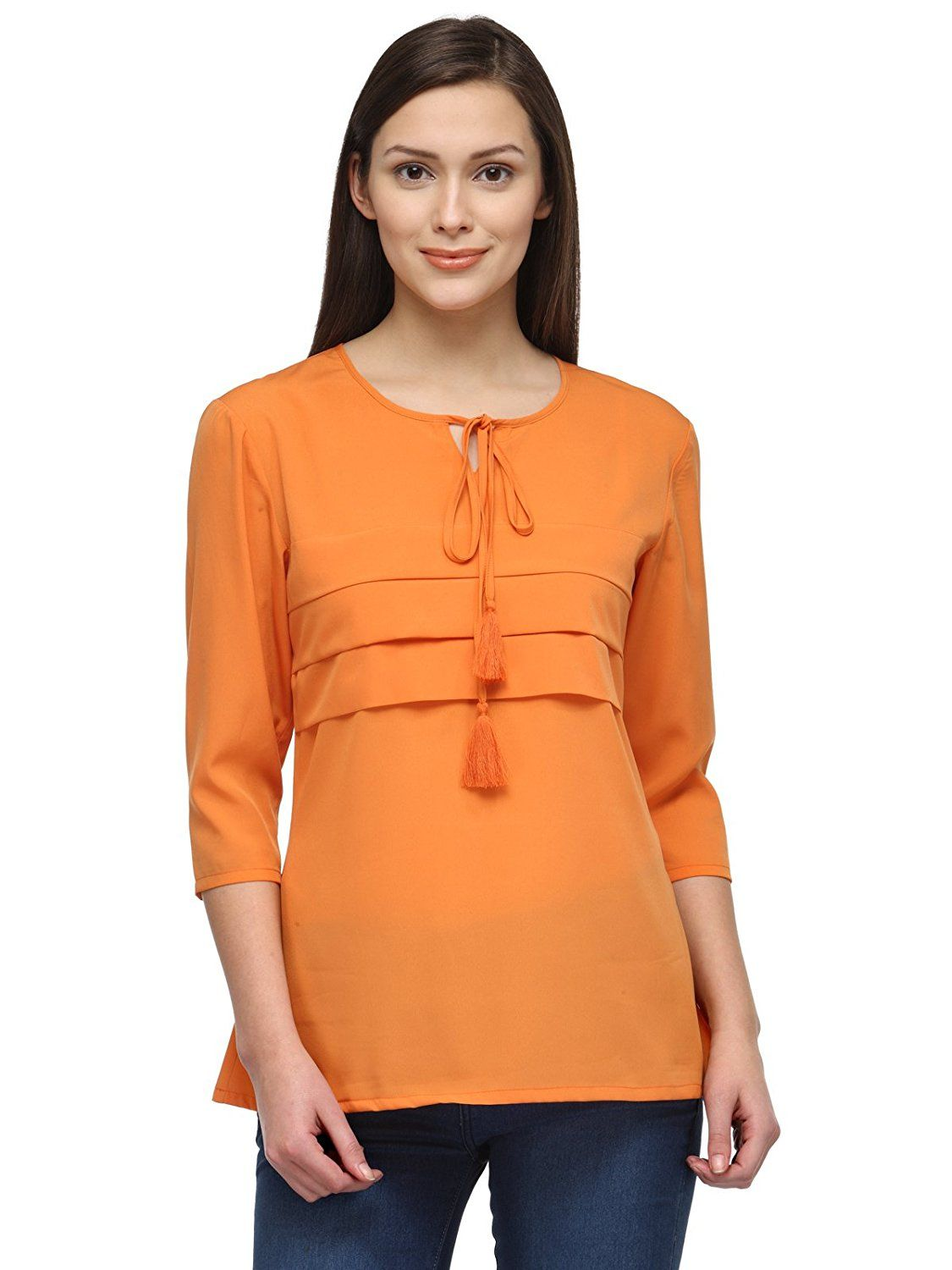 8454a38b2ae Tunic Nation Women s Orange 100% Poly Georgette Top