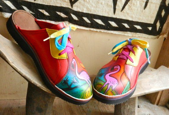 2fdd1bddea4d1 Handmade Custom Red Leather Lace Clogs Shoes - Pink Flamingo Painted ...