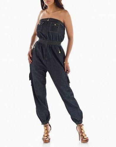 e7960af163 Baby Phat Strapless Denim Jumpsuit Zip Up Harem Leg Womens Cargo Jean  Jumper