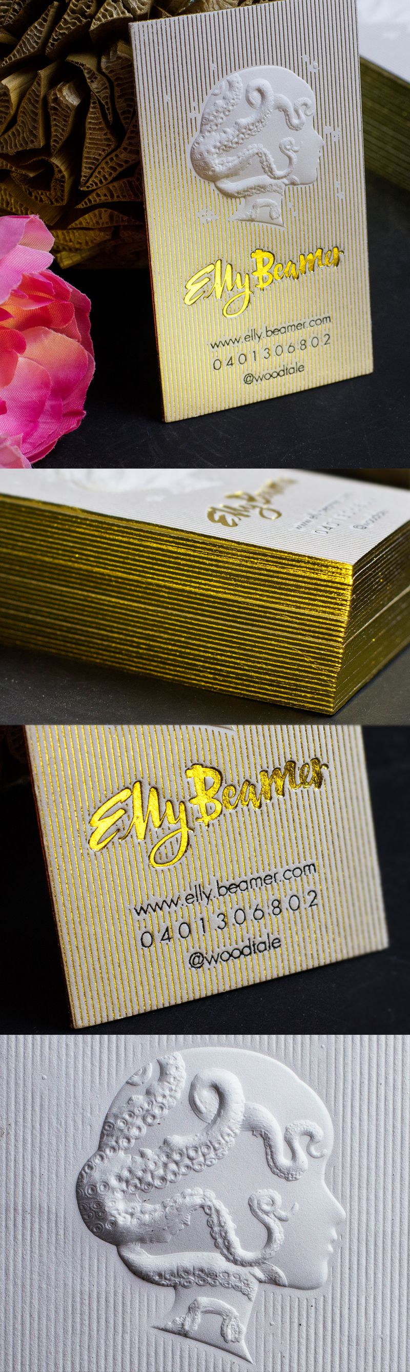 stunning 3d embossed business card with gold foil and letterpress