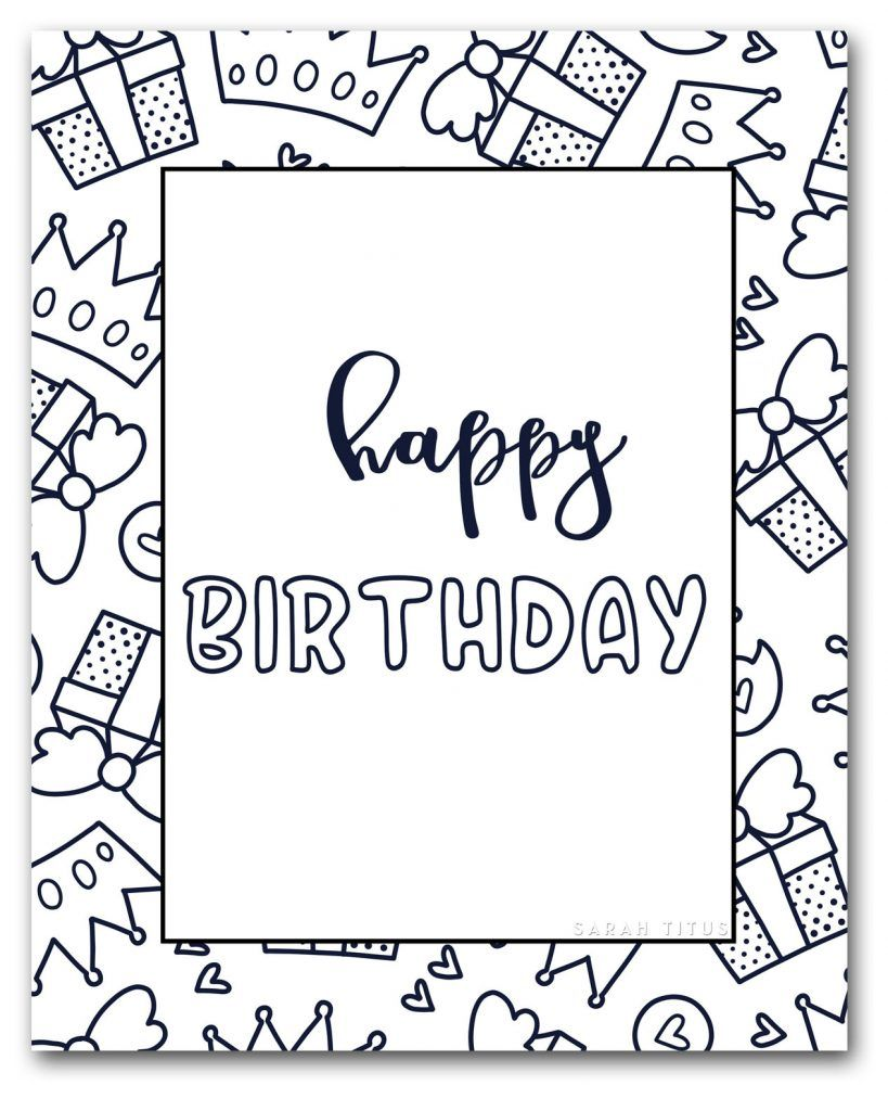 Coloring Book For Adults Free Printables Clean In 2020 Happy Birthday Coloring Pages Happy Birthday Printable Happy Birthday Cards Printable