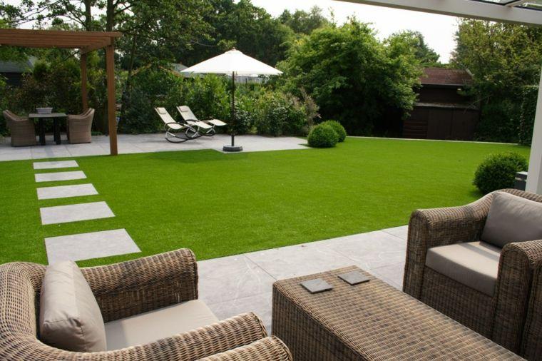 Decoracion de jardines con cesped artificial - 50 ideas - Jardín - jardines modernos