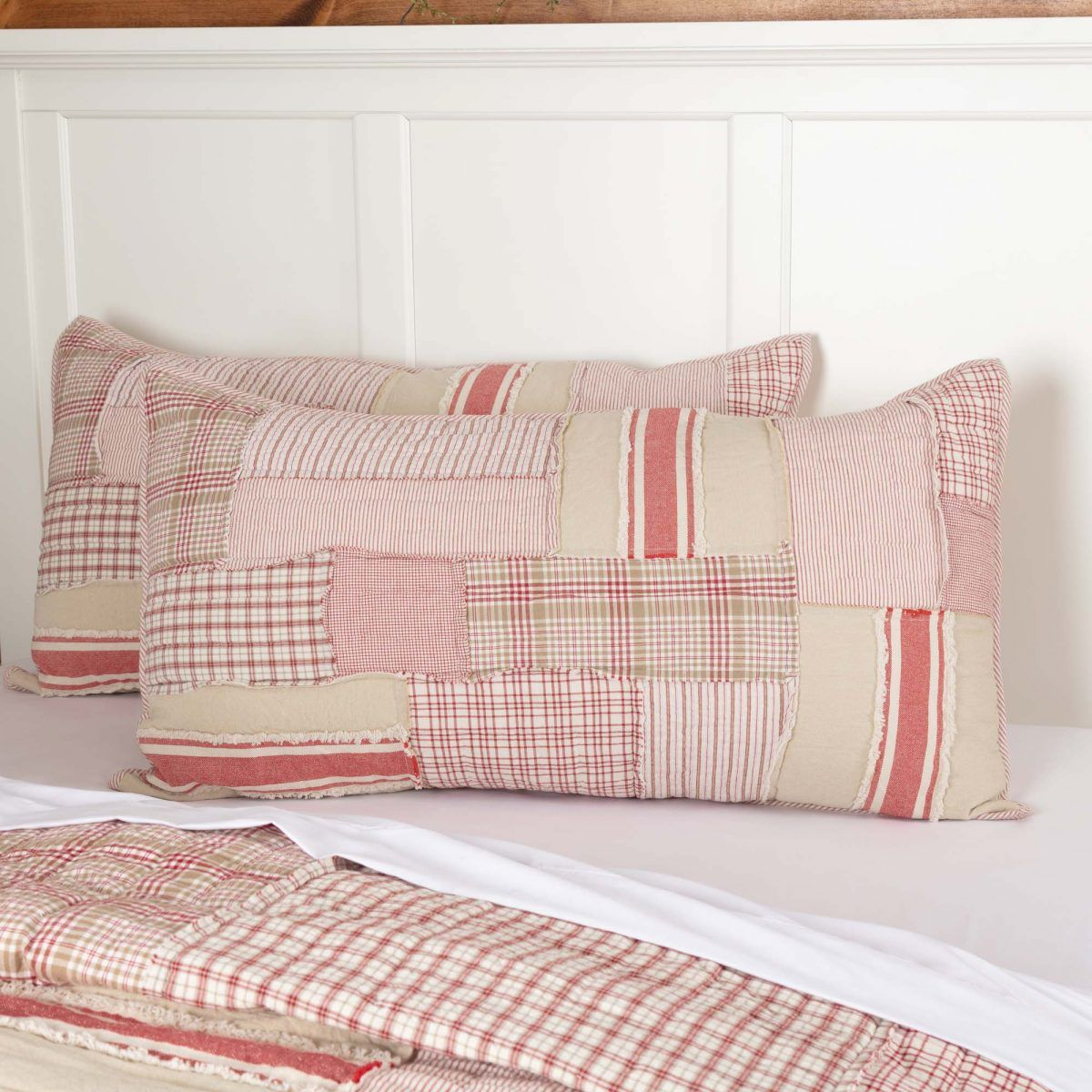 Mill Creek Red King Sham King Size Pillows Casual Bedroom Red Table