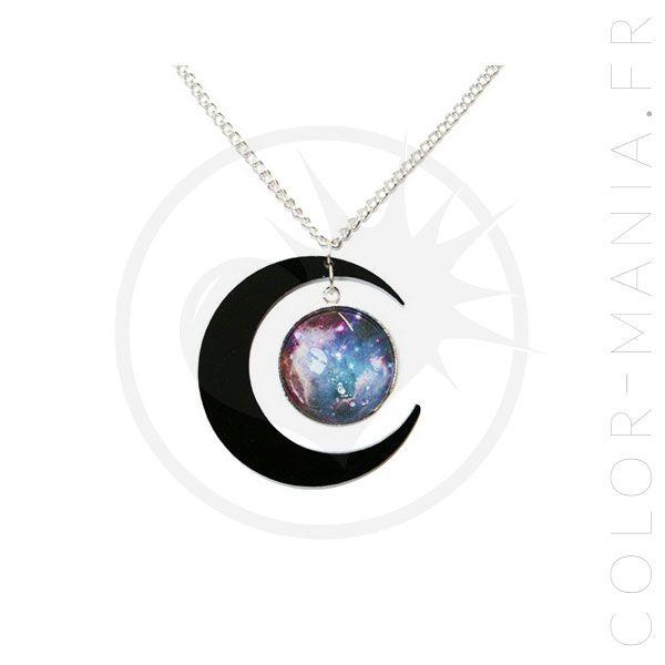 62cfe46dd98e Collier Galaxie et Croissant de Lune Noir