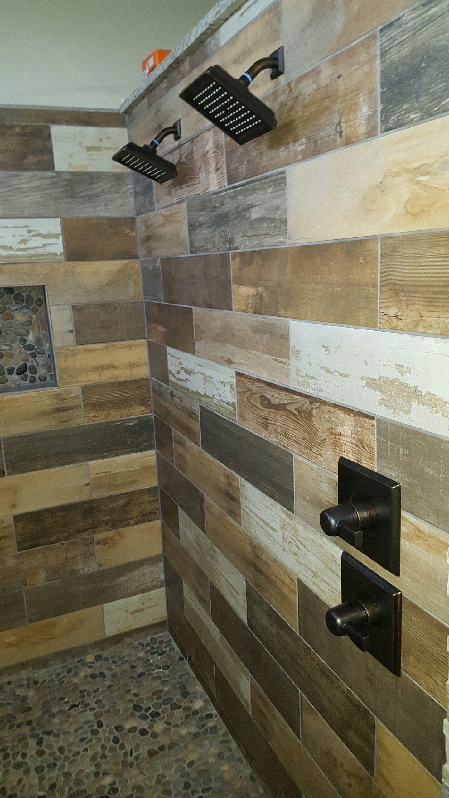 Barn Wood Tile Shower Wood walls living room, Wood tile