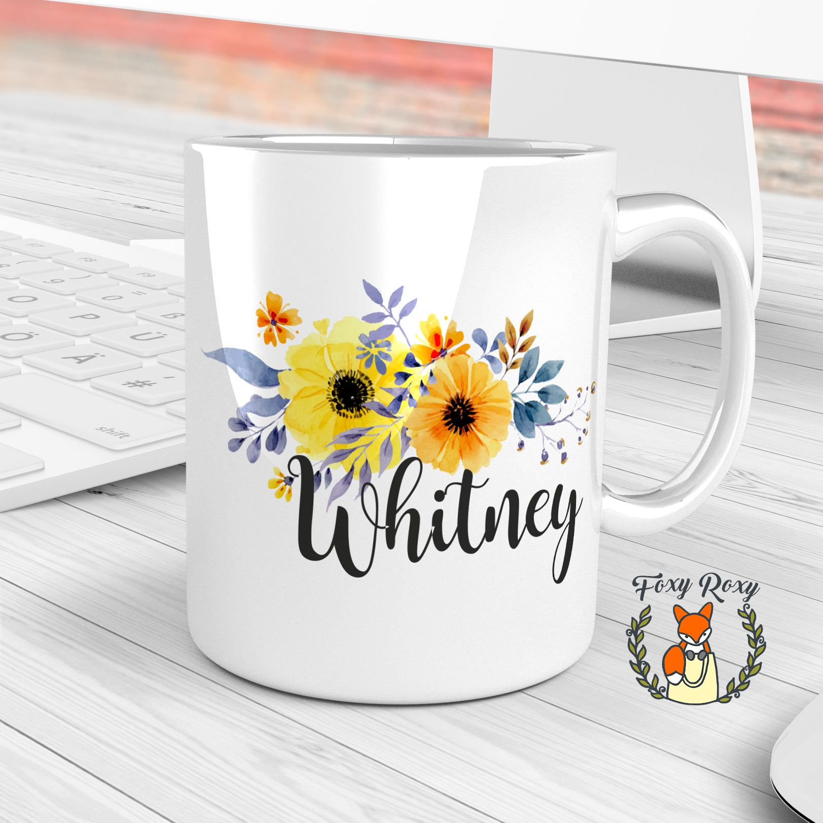 Custom Mug, Yellow Flowers Mug, Personalized Coffee Mug