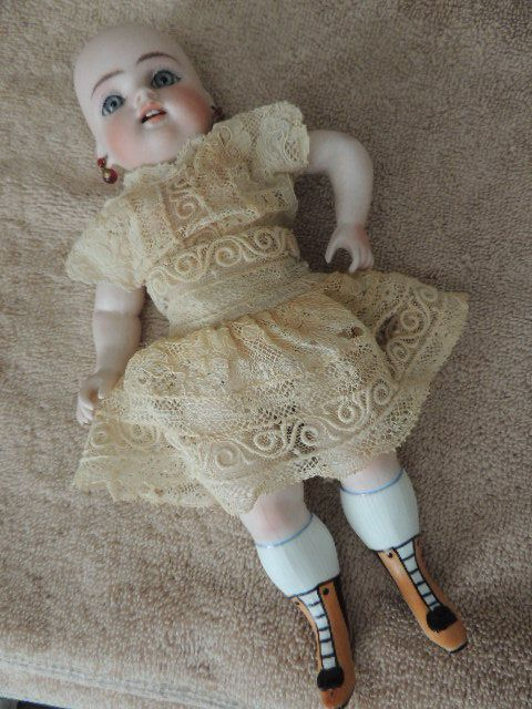 "Kestner 102 French Wrestler 9"", Yellow Boots, Antique All Bisque Doll,"