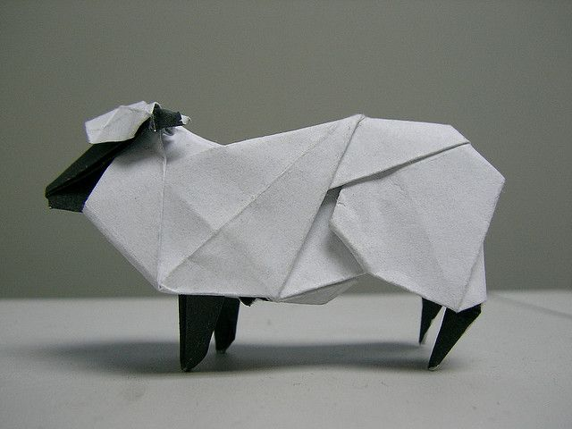 Step instructions how to make origami a sheep Vector Image | 480x640
