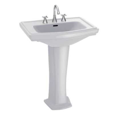 Classically Clean Lines Are Featured In This Pedestal Lavatory With Large Backsplash Rear Overflow And A Luxuriously Deep Bas In 2020 Lavatory Pedestal Bathroom Sink
