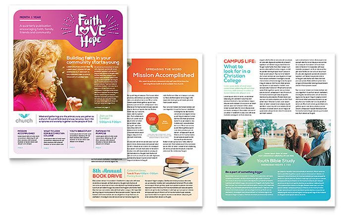 Church Newsletter Template Design By Stocklayouts  Newsletter
