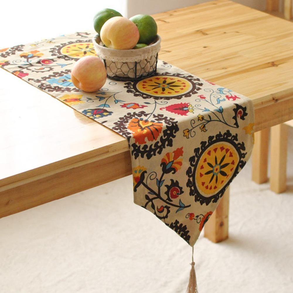 Fuya Bohemian Tassled Table Runner Table Flag Garden Coffee Table Table Runners [ 1000 x 1000 Pixel ]