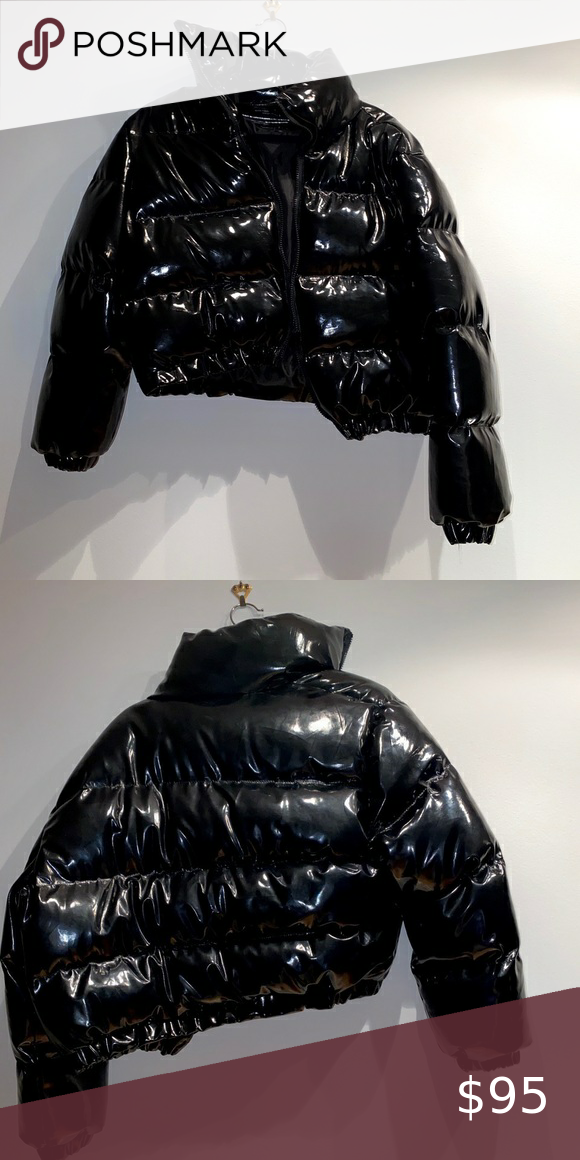 Black Cropped Shiny Vinyl Puffer Jacket Size Medium Large Jacket Is Cropped And Oversized Uk 12 Us 8 Brand New No F In 2020 Black Crop Puffer Jackets Puffer