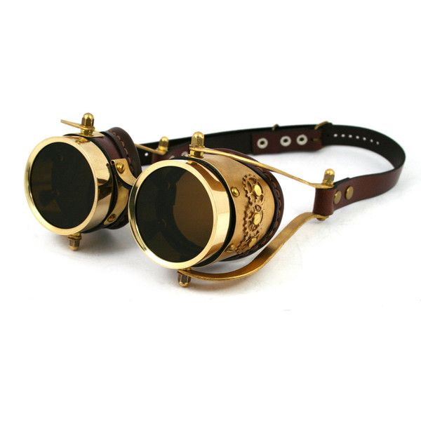 1861f9df5cb STEAMPUNK GOGGLES made of solid brass brown leather gear decor  interchangeable lenses Mechanic