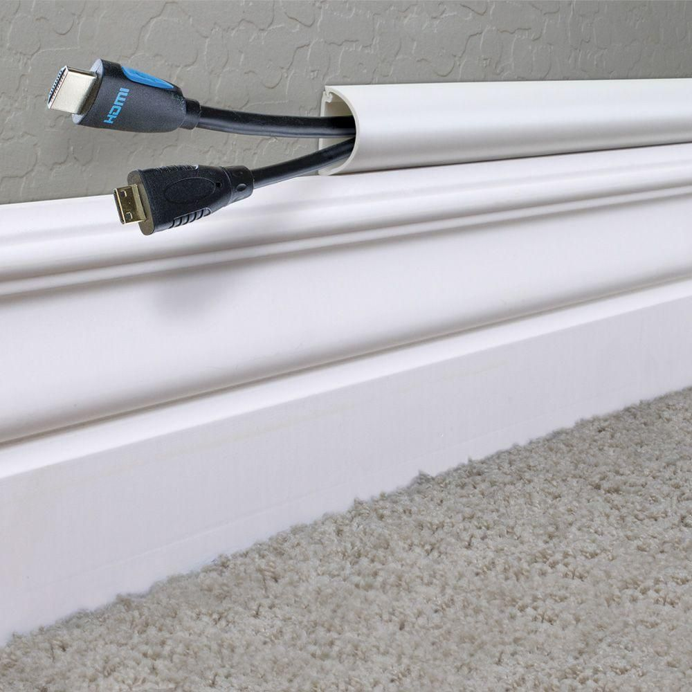 Ce Tech 5 Ft 1 2 Round Baseboard Cord Channel White A50 5w The Home Depot Baseboards Diy Home Improvement Home Repair