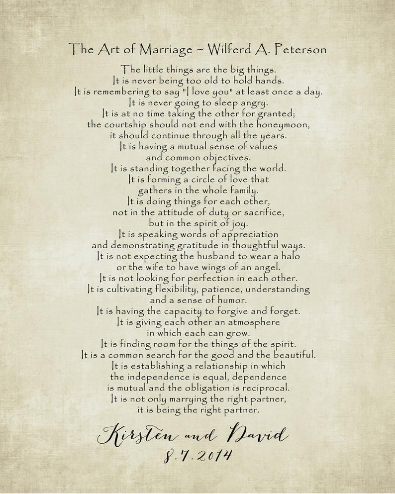 The Art Of Marriage Poem Print Personalized Wedding Blessing Etsy The Art Of Marriage Marriage Poems Wedding Blessing