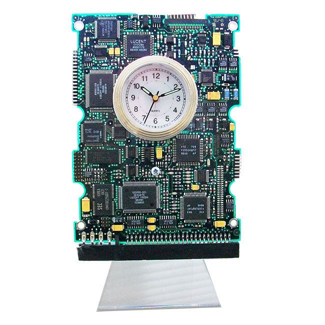 Unique Circuit Board Alarm Clock From A Recycled Computer Hard Drive