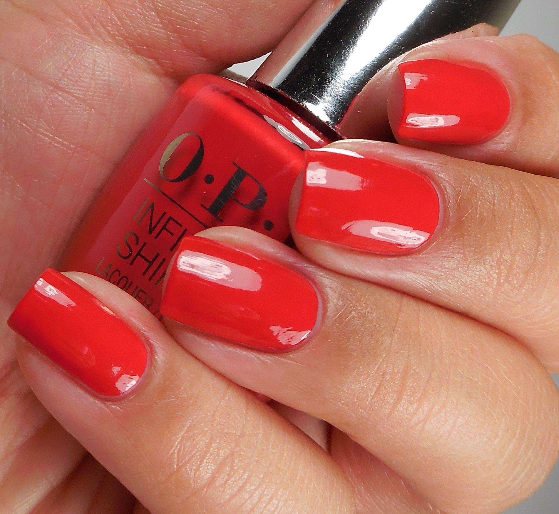OPI Infinite Shine: ☆ Unequivocally Crimson ☆ ... a long-wearing red creme nail polish