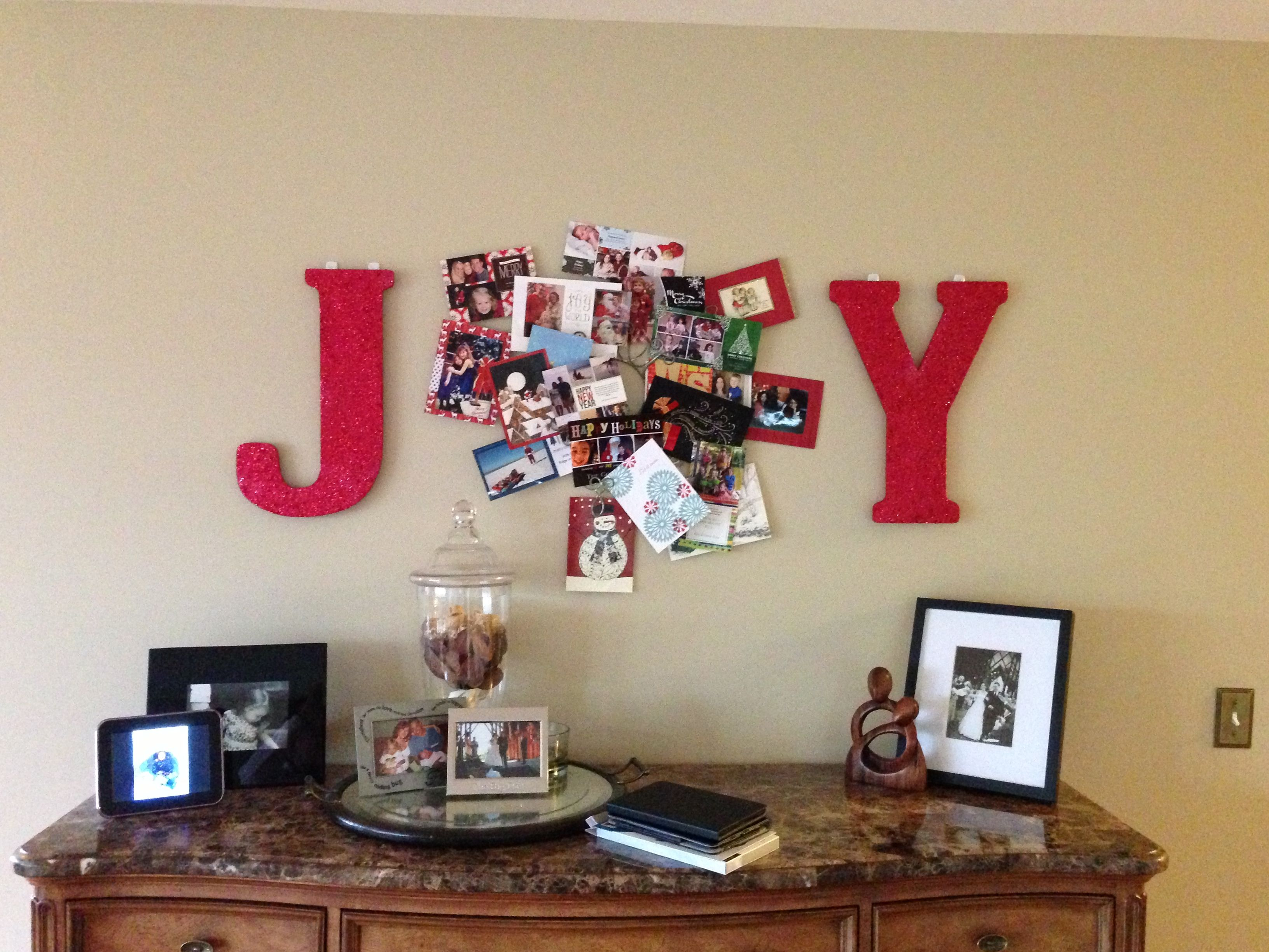 Joy holiday card display...paint & glitter letters J & Y the \