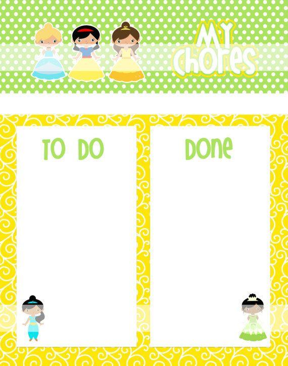 Printable Chore Chart - Instant Download - Princess 1 Reward Chart - credit card form