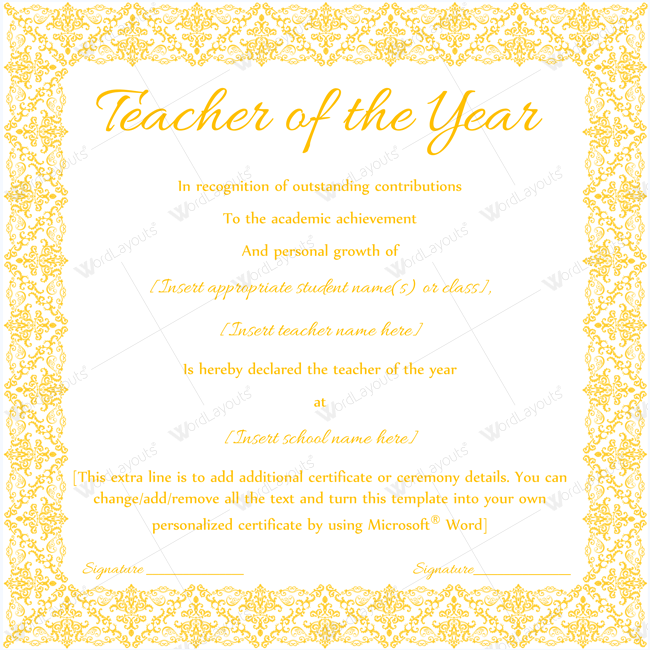 Teacher Of The Year Certificate Word Awardcertificate Yearaward