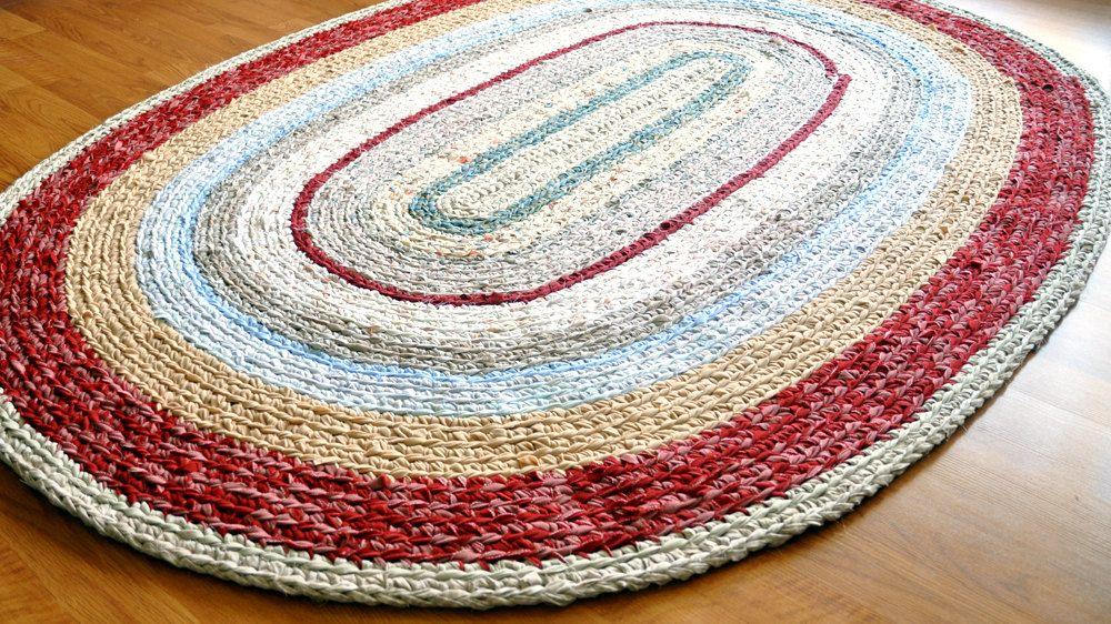 Crocheted Rag Rug 390 00 Via Etsy Kovrik Kovry Vyazanie