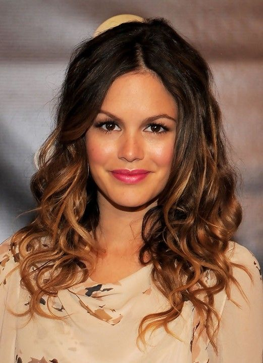 casual, ombre toned, long curly hairstyle - rachel bilson hairstyles