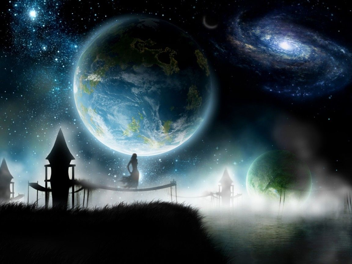 Peripheral Perspective Fantasy Landscape Couple Wallpaper Space Backgrounds