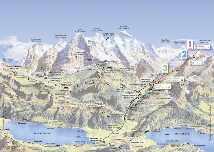 Panoramic map Summer Schilthorn Schilthorn Piz Cool stuff
