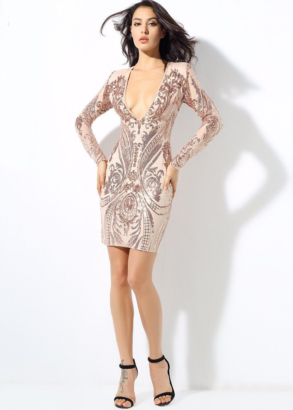 Honey crush rose gold sequin long sleeve mini dress products