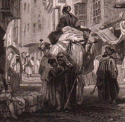 Gravure XIXe Vue de Ville Le Caire Souk Marché Egypte Moyen-Orient