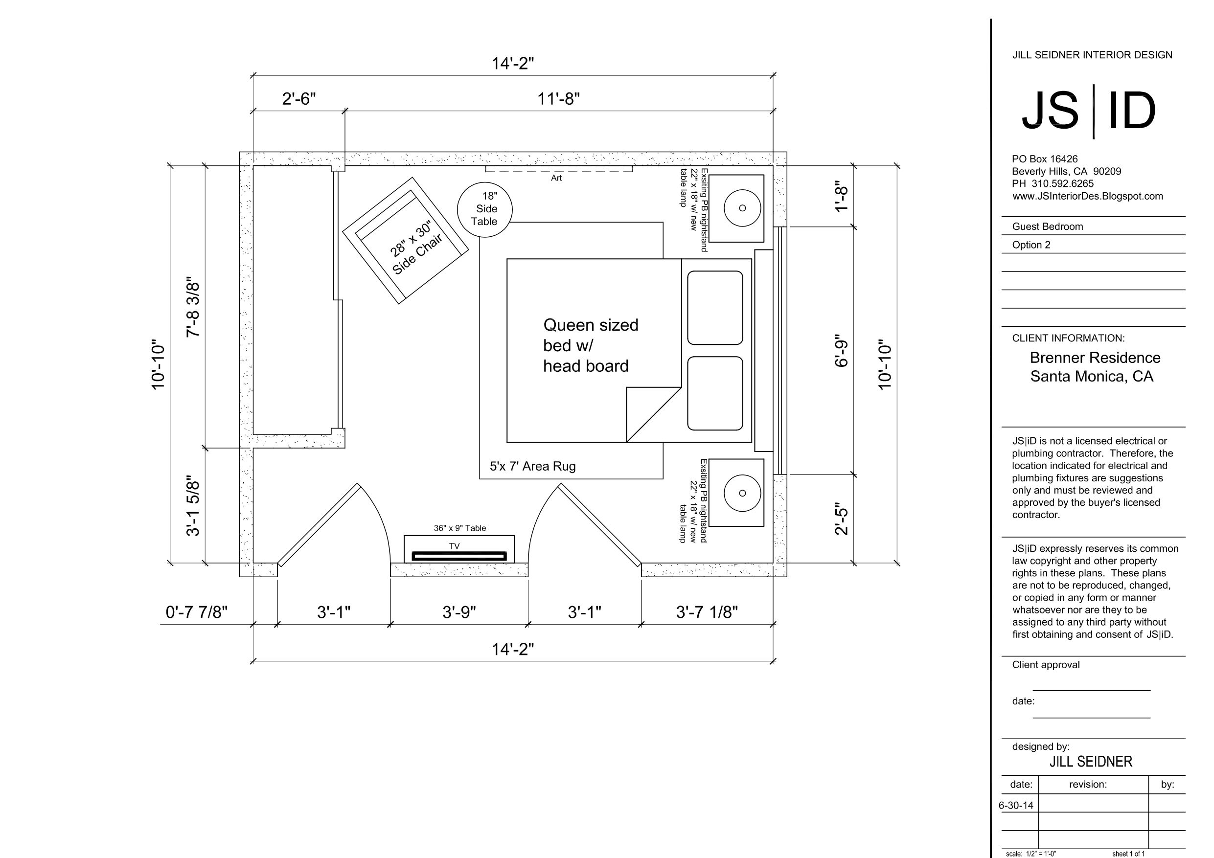 Santa Monica, CA Residence Guest Bedroom Furniture Floor Plan
