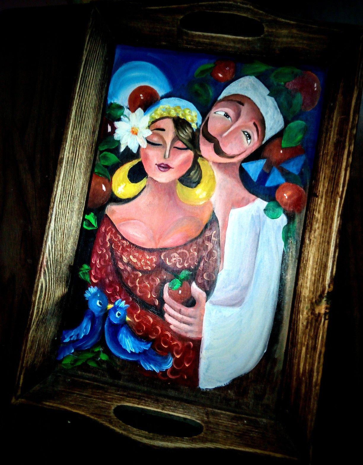رسم بالالوان الزيتيه للفن الشعبي في صينيه خشب فلكلور Folklore Art Painting Egyptian Art Painting