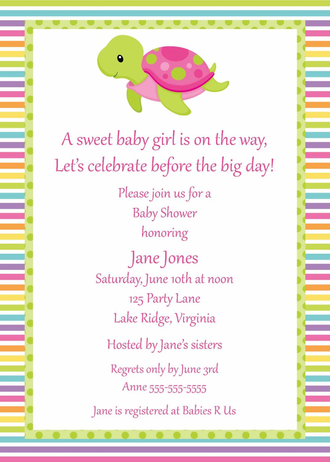 Printable Turtle Girl Baby Shower by NoteworthyPrintables on Etsy, $10.00