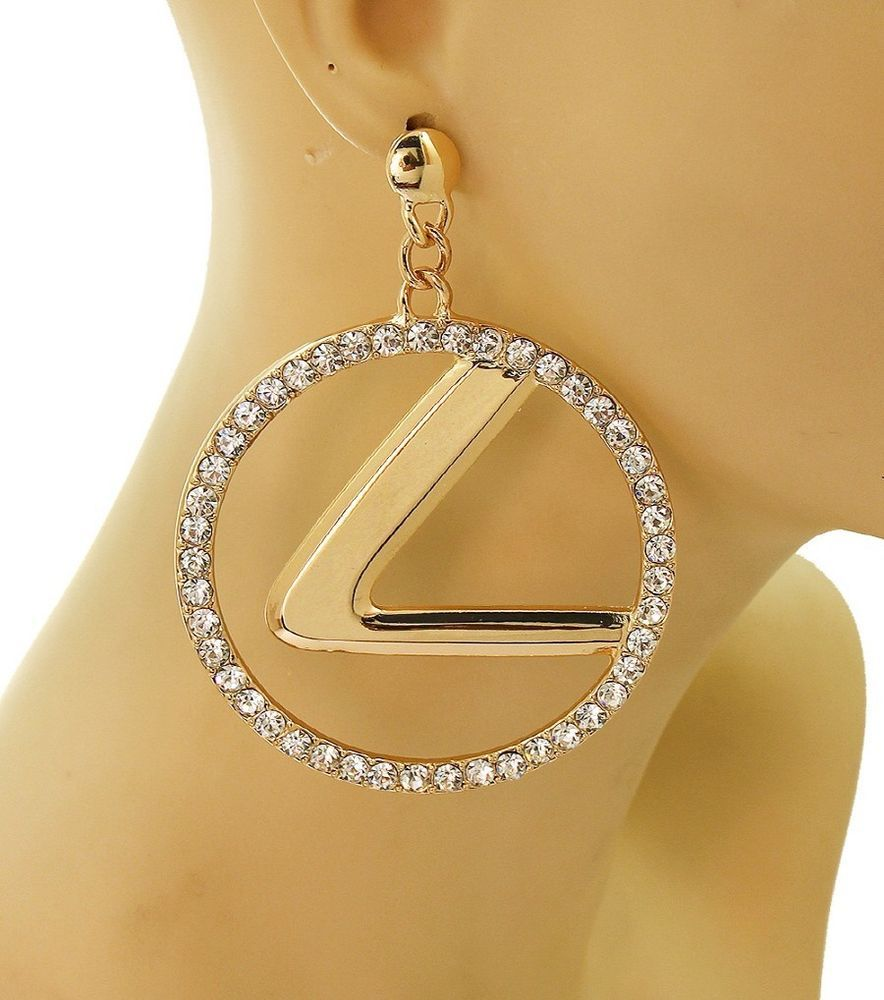 Cute Gold Crystal Dangle Style Lexus Car Logo Hoop Statement Round L  Fashion Costume Jewelry Post