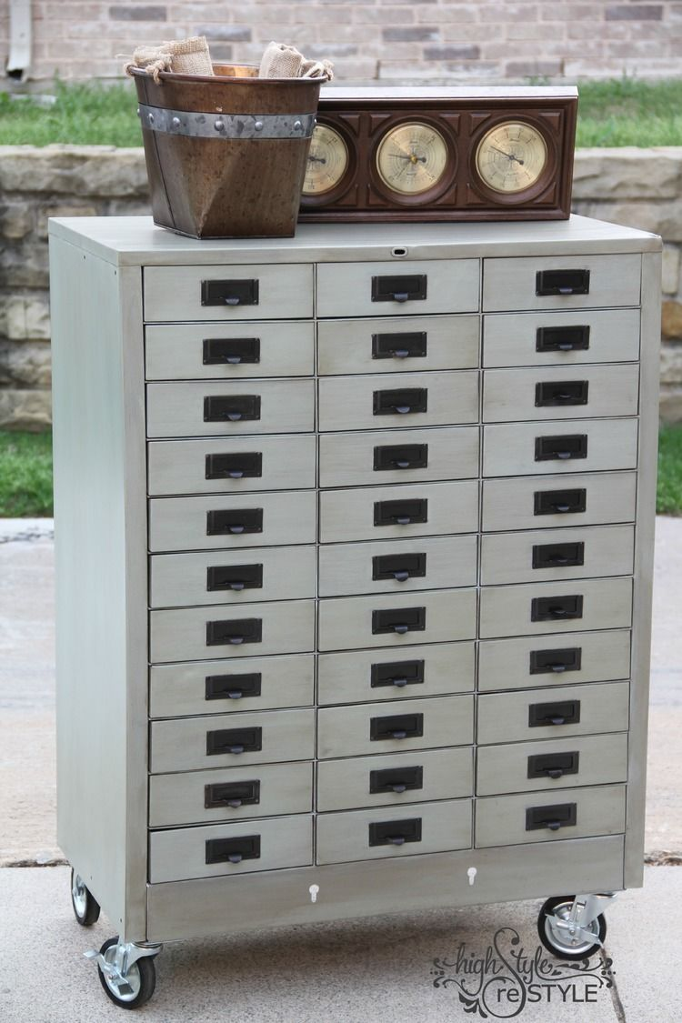 Painted Metal Cabinet Makeover | Painting metal cabinets ...